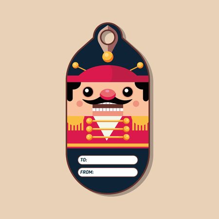Nutcracker. Name tag for a gift. Christmas character in a flat style. Vector illustration. Art.