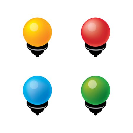 Set bright volumetric bulbs for a Christmas garland. Colored. Red, yellow, blue, green.  Vector illustration. Icons. Isolated. Objects. Çizim