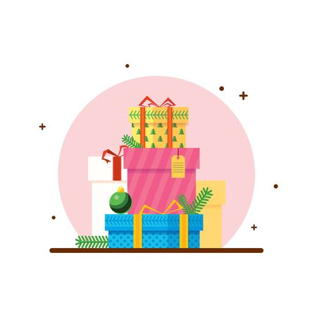 A set of bright New Years gifts for the whole family. Stylized graphic illustration in a flat style. Vector. Objects.