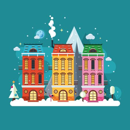 European city house. Urban scene landscape in winter season. Christmas time. Vector cartoon illustration. Flat style. Drawing. Çizim