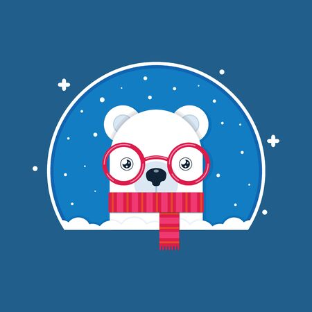 The polar bear in a red scarf. Snow and snowflakes. Cartoon vector illustration. Flat style. Drawing.