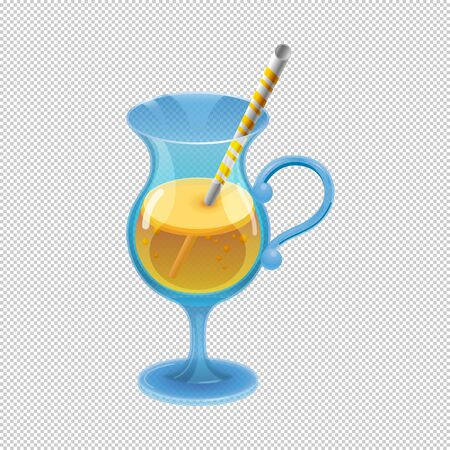 A cocktail glass with natural fruit juice and a drinking straw. Bright sweet drink for parties. Cartoon style. Vector illustration. Drawing.