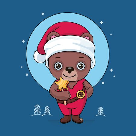 Cute, kind bear in red clothes and in a Santa hat. He holds a magic wand in his hand. It stands at night against the background of the moon and snowy Christmas trees. Cartoon flat style. Vector. Drawing. Stock fotó - 136489477