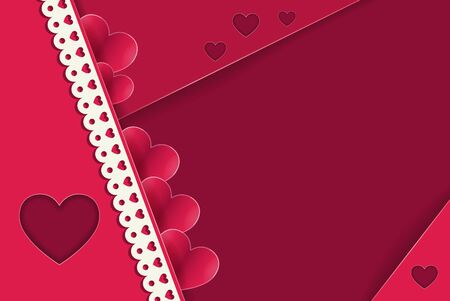 St. Valentines Day. Stylish red, romantic abstract background with cut paper hearts and lace with copy space. Vector illustration. Love. Ilustracja