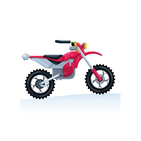 A red sports bike is drawn in a flat style on a white background. Cartoon. Isolate Vector illustration. Image. Çizim