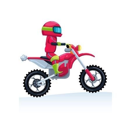 Extreme motorcyclist rides a red sports bike. Flat style. Isolate Vector illustration. Image. Çizim