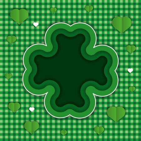 Green background with clover for St. Patricks Day. In the style of cut paper. Copy space and seamless texture. Vector illustration.