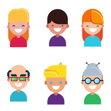 Set of character avatars of people in cartoon flat style. Stylized. On an isolated white background. Vector illustration. Family icon. Draw.