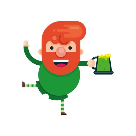 Cute cartoon character of a cheerful man with red hair and a glass of green beer. St. Patricks Day. Flat style. Vector illustration. isolated.