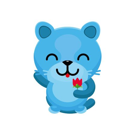Cute cat gives a scarlet flower. Cartoon character. Flat style. Vector illustration. Isolated image.