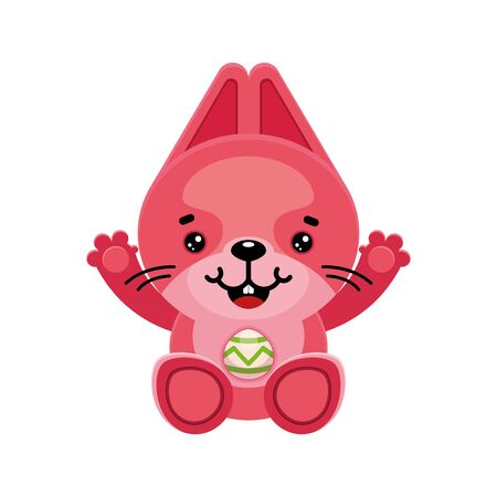 Pink Easter Bunny with a painted egg. Cartoon cute character. Vector illustration. Isolated image.