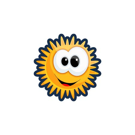Cartoon bright sun with big eyes and a happy smile. Emoticon. Flat style weather icon. On a white isolated background. Vector illustration. Drawing.