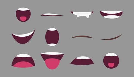 Different mouth emotions for animation. Flat style. Vector illustration. Drawing.