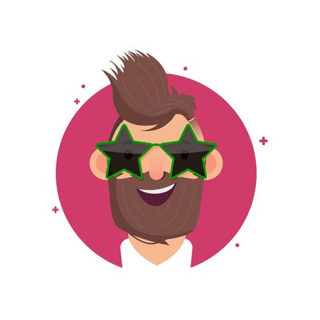 Cartoon character. Portrait of a man wearing glasses in the shape of stars and with a stylish prenatal. Cartoon style. Vector illustration. Drawing. Archivio Fotografico - 150291220