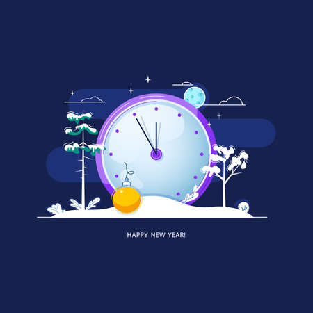 Five minutes before the new year illustration.