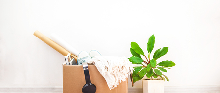 Things to move, box , a flower in a pot. Garage sale and moving concept Copy space