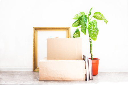 Boxes for moving , flower in a pot, old frame for a picture on a white backgroud Garage sale and moving concept Copy space .