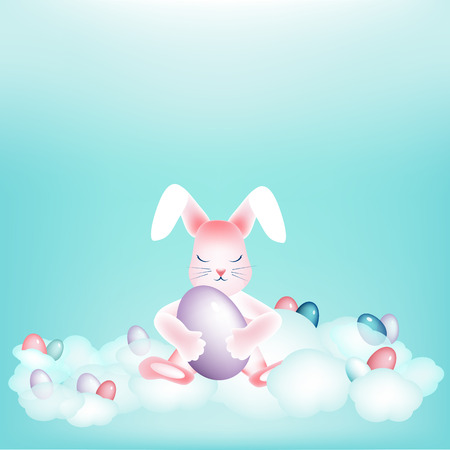 Easter bunny with colorful eggs napping on the clouds Copy space