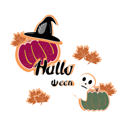 Halloween cut vector illustraion with pumkin , ghost and phrase Halloween on white background Banque d'images - 124562092