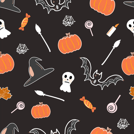 halloween seamless pattern background with pumpkin, bat, lollipop, ghost Hand drawing elements Vector illustration Banque d'images - 124562096