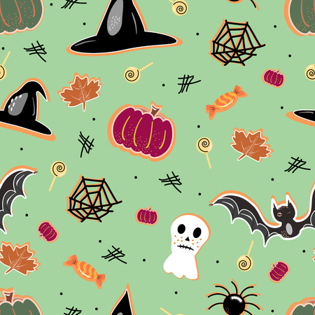 halloween seamless pattern background with pumpkin, bat, lollipop, ghost Hand drawing elements Vector illustration Banque d'images - 124562098