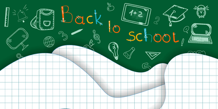 Back to school background Paper cut pages Icon Pencils letters Alarm clock Briefcase Chalkboard Notebook Vector illustration