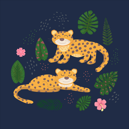 Tropical pattern with leopards and palm leaves. African motifs. Vector illustration Print for children's t-shirts, sweaters. 矢量图像