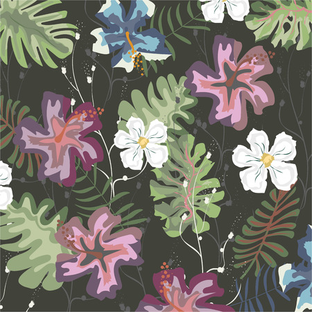 patrón de flores tropicales. Ilustración vectorial. Impresión de verano. Textura para papel tapiz, página web, textura superficial, textiles. revista de portada