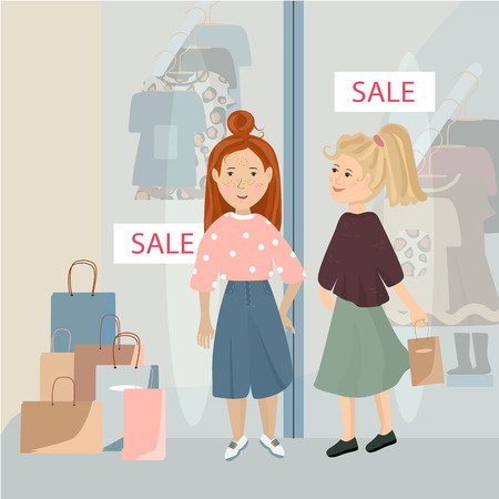 Two beautiful girl in the store on sale Vector illustration Summer sale concept
