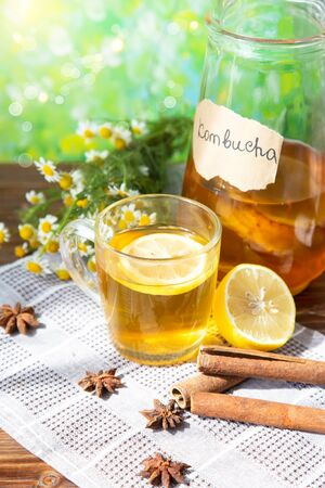 Healthy tea kombucha with lemon and cinnamon. Recipe for homemade Kombucha Summer bright background Vertical Imagens