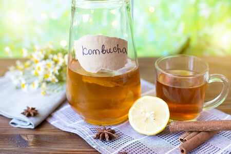 Healthy tea kombucha with lemon and cinnamon. Recipe for homemade Kombucha Summer bright background 免版税图像 - 125460014