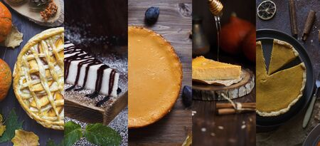 Collage of cheesecake photos. Traditional Cheese Pie.