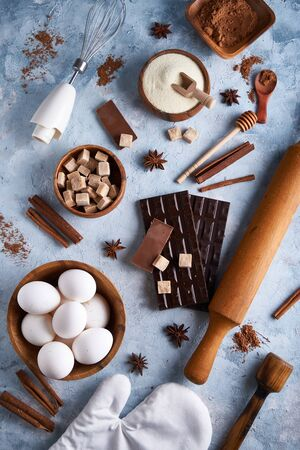 Ingredients for baking cookies, cake. Tools, dishes for cooking