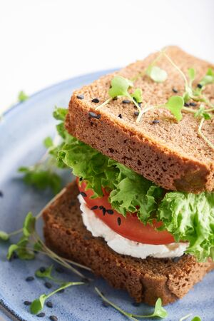 healthy sandwich with gluten-free bread, tomato, lettuce and germinated microgreens, sprinkled with sesame seeds served in plate on white background