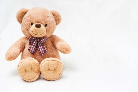 Cute fluffy toy bear on a light background