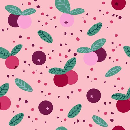 Beautiful seamless vector pattern with red berries