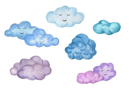 Stock image. Watercolor hand drawn colorful fluffy cartoon clouds. Blue and purple shades of clouds watercolor set isolated on white background.