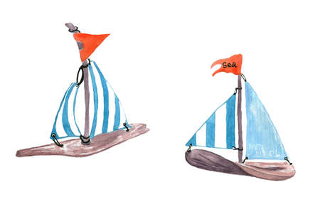 Stock image. Two wooden cartoon, small boats with striped sails and red flags close up isolated on white backdrop. Image for logo, packaging, cover book, textile, postcards design.