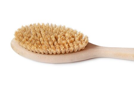 Natural skin body dry massaging brush with wooden handle macro