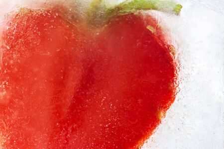 Strawberry inside frozen icecube transparent macro cool wallpaper