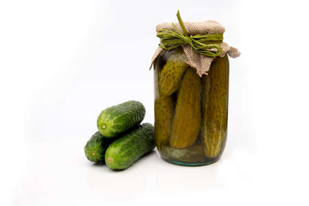 Homemade canned or pickled cucumbers Foto de archivo