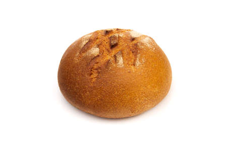 Loaf of rye bread or baguette on white background.