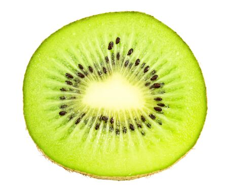 slice of ripe kiwi fruit on white background