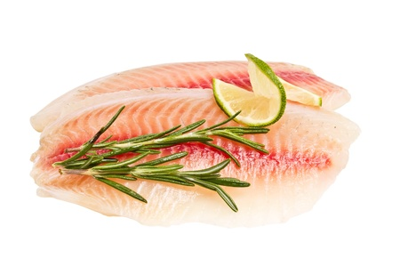 tilapia: tilapia fillet with a slice of lemon and rosemary isolated on white background