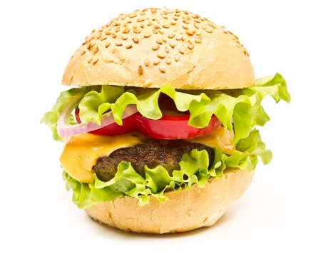 hamburger with cheese and chop isolated on white background photo
