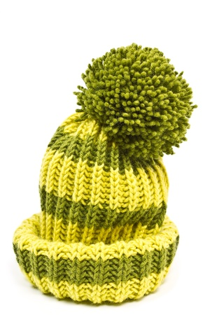 knitted woolen hat isolated on white background Фото со стока