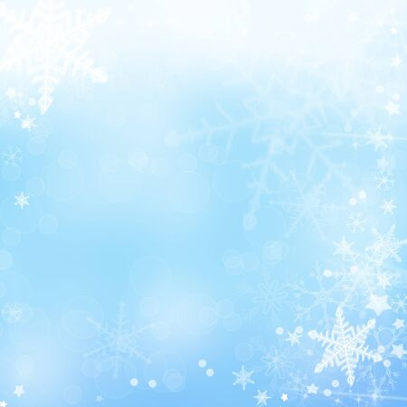Christmas abstract background with snowflakes in winter Stock Photo