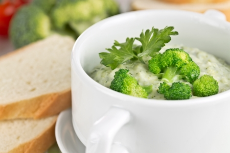 pureed: vegetable soup with broccoli and parsley leaf