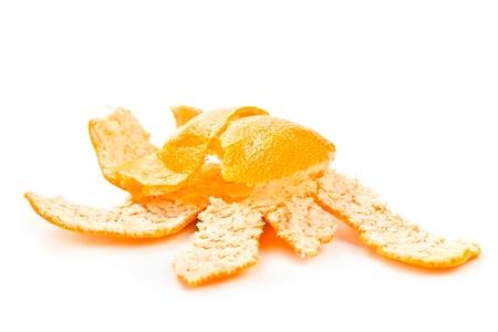 tangerine peel: broken tangerine peel isolated on white background Stock Photo