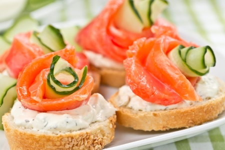 sandwiches with salmon, cucumber and cream cheese